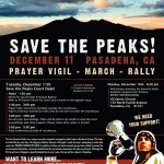 Save the Peaks - Pasadena events (text layout by Pathfinder)