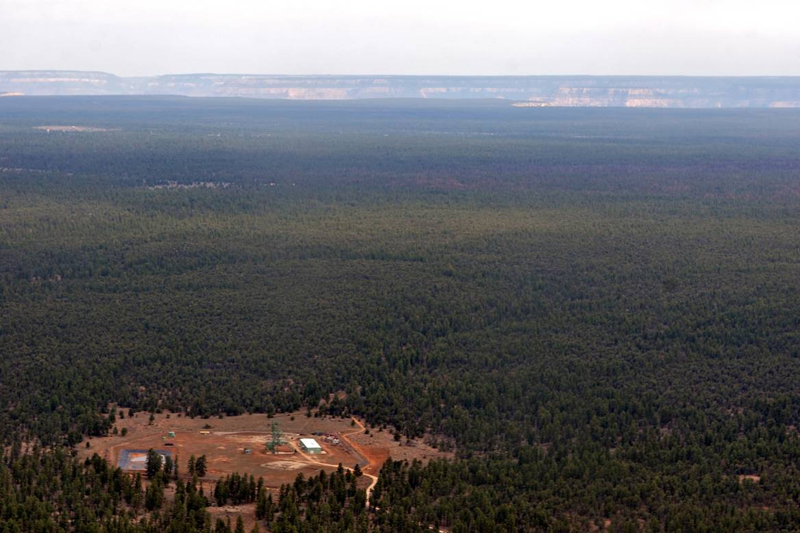 """The """"Canyon"""" uranium mine, seen here in the foreground, with Grand Canyon National Park six miles to its north. Photo by Bruce Gordon, Ecoflight."""