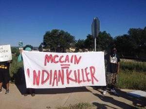 McCain protested at Window Rock. Credit: Anon