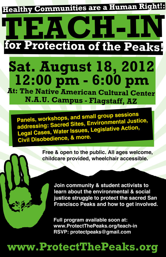 Protect the Peaks Teach-in Poster